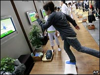 Man playing a Wii game
