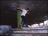 Skateboarder at London's South Bank