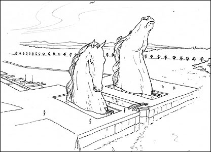 Artist's impression of the kelpies