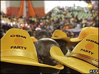 Kenyan opposition party supporters wearing hats