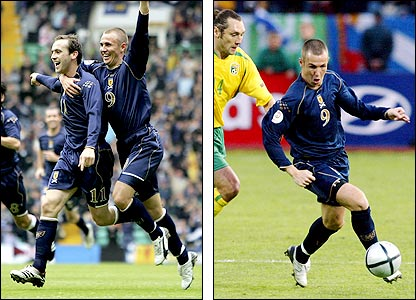James McFadden and Kenny Miller celebrate during the win over the Faroe Islands; Miller (right) evades Lithuania's Preiksaitis Aidas