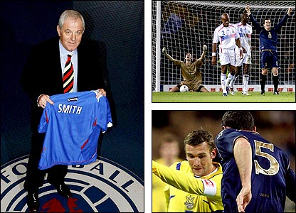 Walter Smith quits for Rangers; Gary Caldwell is jubilant after scoring the winner against; Scotland are beaten by Ukraine