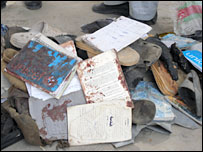 Items recovered from the scene of the explosion