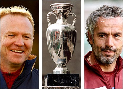 Scotland boss Alex McLeish; The Henri Delaunay Trophy; Italy boss Roberto Donadoni