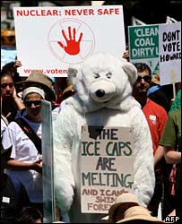 Protestor in a polar bear costume in at the Walk Against Warming in Sydney  (11/11/2007)