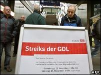 A placard announcing strikes at a Berlin train station