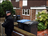 A policeman standing outside the house in Margate