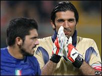 Italy midfielder Gennaro Gattuso and goalkeeper Gianluigi Buffon