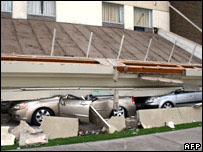 Car crushed by collapsed building, Chile