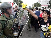 Estudiante venezolana en manifestaci�n
