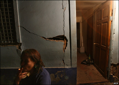 An earthquake-damaged house, in Tocopilla, Chile, 14 November 2007