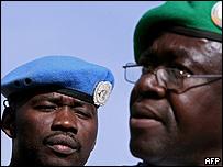 Militares de las fuerza de paz de la ONU en Sudán.