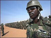 Newly-arrived Nigerian peacekeepers with the African Union in southern Darfur on 24 October 2007