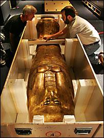 Sarcógago en la muestra de Tutankamón