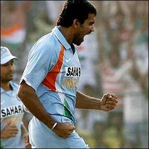 Zaheer Khan celebrates his 200th ODI wicket