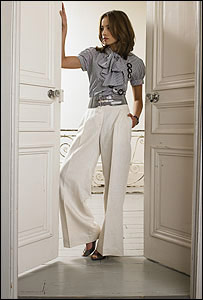 Model in M&S high-waisted trousers