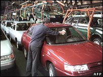 An employee at the Russian car manufacturer Avtovaz's workshop in Tolyati