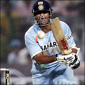 Sachin Tendulkar drives straight