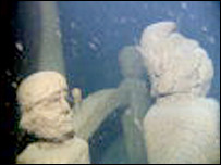 Underwater wreck carvings