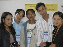 Five refugees including Gopal Rai (second left), Amit Subba (centre), Rebika Bhandari (far right)