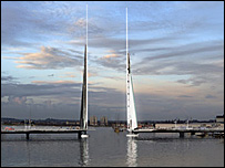 Computer image of how the Twin Sails Bridge may look