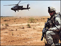 US soldier and helicopter in Iraq