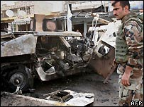 Remains of Humvee in Iraqi police convoy hit by suicide car bombing in Kirkuk - 15/11/2007