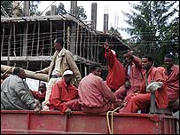 Ethiopian labourers on their way home at the end of a working day