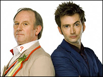 Peter Davison and David Tennant as Dr Who