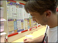 Man in betting shop