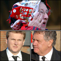 Top - a mourner at Stradey, bottom left Aled Jones and right Max Boyce arrive