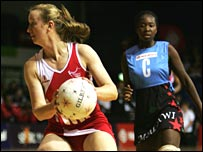 England's Jo Binns in action against Malawi in Auckland.