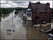 Catcliffe, near Sheffield during floods in June