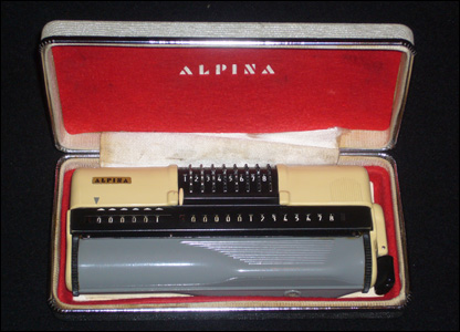 Stephen Marshall has a Alpina handheld mechanical calculator which dates from around 1961.  He said: It still works perfectly and is surprisingly easy to use.""