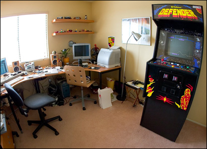 Chris Dodkin has a classic arcade machine, Defender, in his study. It dates back to 1980.
