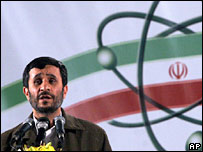 President Ahmadinejad speaks at Iran's nuclear enrichment facility in Natanz, April 2007