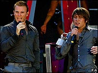 Gary Barlow and Mark Owen of Take That