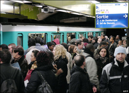 Commuters at Gare du Nord metro station, 16 November