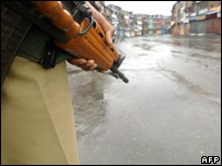 A soldier keeps vigil in Kashmir