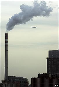 Coal power station belching out smoke in Beijing