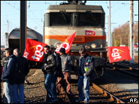 Striking railway workers block freight trains in Bayonne, south west France, 16 November