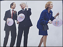 Advert showing three former British prime ministers - Tony Blair, John Major and Margaret Thatcher