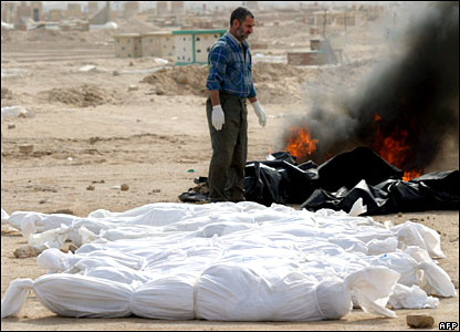 Shrouded bodies ready for burial in a cemetery in the Iraqi Shia holy city of Najaf.