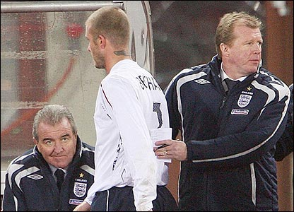 David Beckham is substituted for David Bentley against Austria