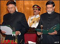Pakistani President Pervez Musharraf swears in Mohammadmian Soomro as caretaker prime minister