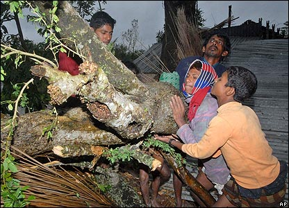 Family trying to shift fallen tree 17 November 2007