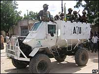African Union peacekeepers from Uganda patrol Mogadishu