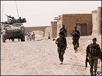 Canadian troops on patrol in the Kandahar province