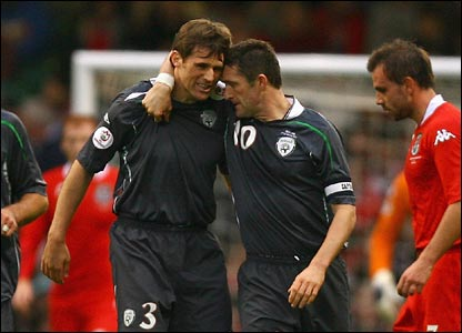 But Robbie Keane (right) equalises before half-time for the Republic