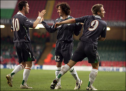 Keane, Hunt and Doyle celebrate the Republic's second goal
